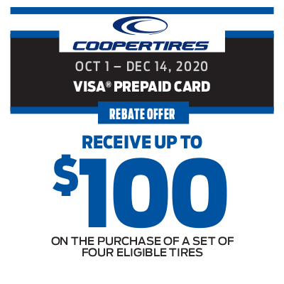 RECEIVE UP TO $100 ON THE PURCHASE OF A SET OF FOUR ELIGIBLE TIRES!