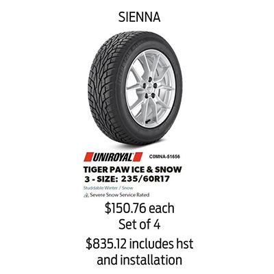 Winter Tire Package Specials: SIENNA