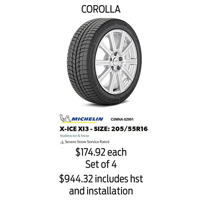 Winter Tire Package Specials: COROLLA